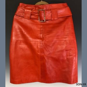 SONYA Skirts - SONYA Orange Leather Skirt